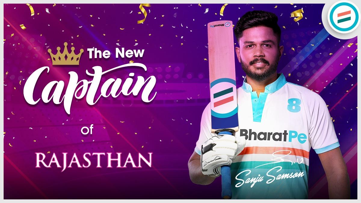 Three Cheers for Sanju Samson on becoming the new captain of Rajasthan.   #SanjuSamson #rajasthan #BharatPe #TeamBharatPe