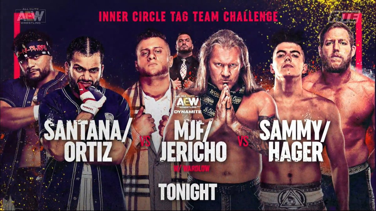 MJF & Chris Jericho vs Sammy Guevara & Jake Hager vs Santana & Ortiz was the highlight of #AEWDynamite   Really entertaining match, felt like the outcome could go different ways & happen any time Closest I can remember a Dynamite match going without running out of show time #AEW