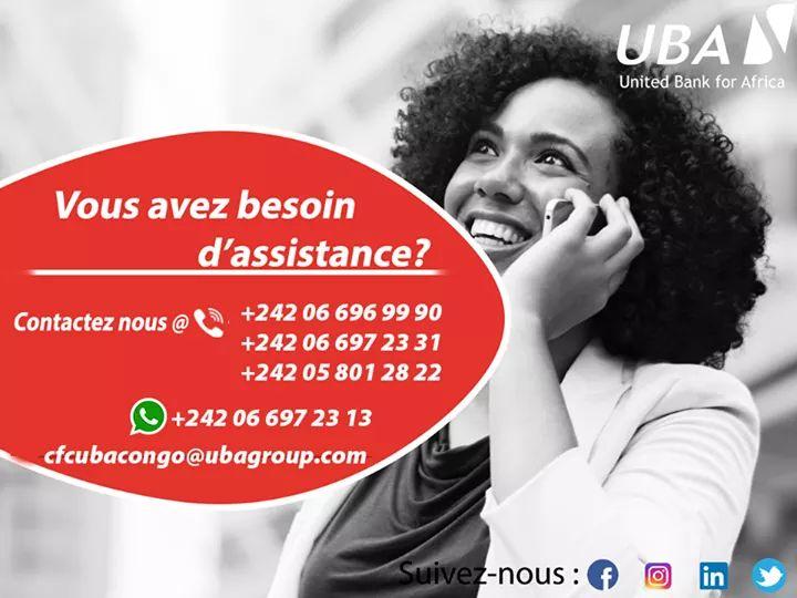 Vous avez besoin d'assistance? Notre service client en ligne est disponible 24h/24 & 7J/7. N'hésitez pas de nous contacter par téléphone, mail, whatsapp et sur tous nos réseaux sociaux.  #UBACares #CFC #AfricasGlobalBank