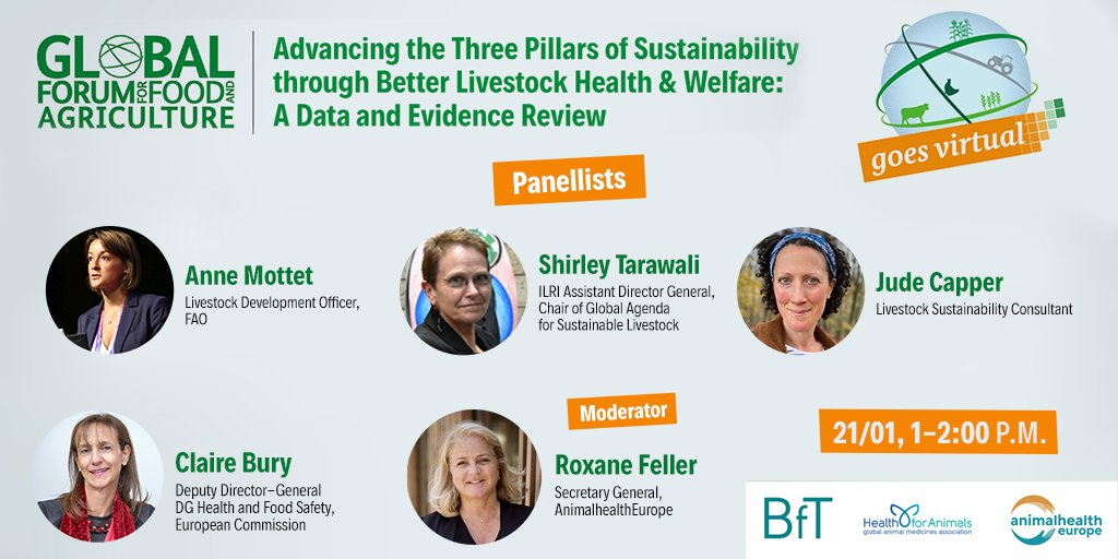 #AnimalHealthMatters - it contributes to all three pillars of sustainability, helping to feed the world in times of pandemics & climate change.  Hear more from our #GFFA expert panel today at 1PM CET  Follow the livestream: