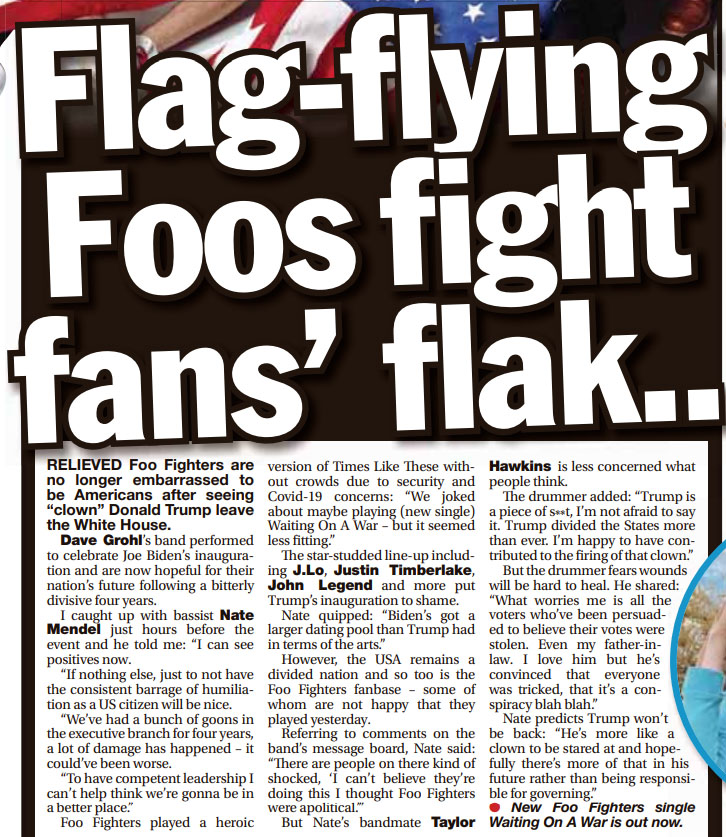 Ahead of @foofighters performing on #CelebratingAmerica yesterday, a a reflective @nategmendel & an unapologetic @taylorhawkins spoke to the UK's @dailystar tabloid.