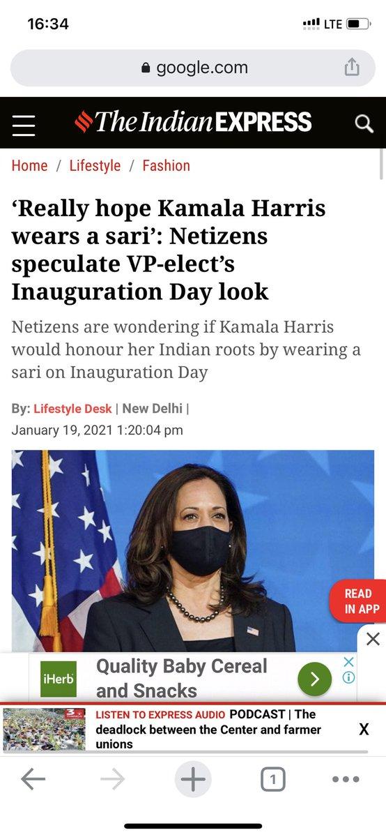 गोदी मीडिया पता लगा रहा था कि कमला हैरिस अपने भारतीय मूल के होने के गर्व में शपथ ग्रहण में कौन सी साड़ी पहनेंगीं!   कमला ड्रेस पहन बाइबल पर शपथ ले आईं!  हे राम! #InaugurationDay #Inauguration2021 #CelebratingAmerica #CelebrateAmerica #KamalaHarris