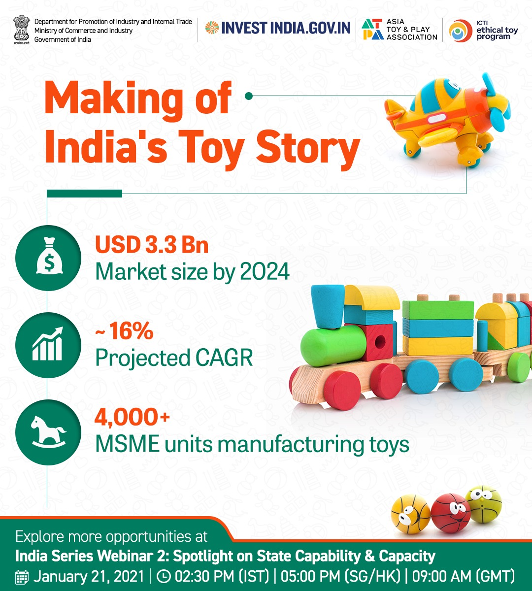 #NewIndia is all set to establish itself as the toy manufacturer of the world! ⛳🧸   Register NOW to explore the investment opportunities at the webinar👉🏼  #MakeInIndia #InvestInIndia @makeinindia