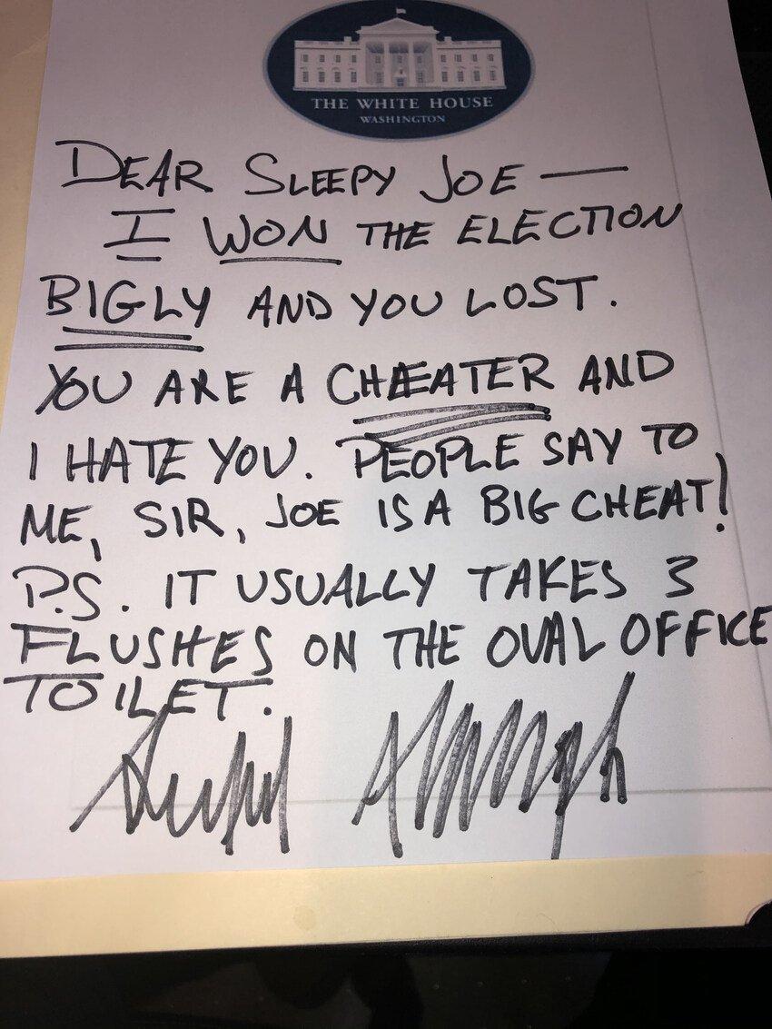 @AlicRodmen @bbcmundo Por supuesto que no, la tradición indica que las cartas sean de puño y letra. Esta es la verdadera carta : #ImpeachedTwice #ImpeachedAgain #joe46