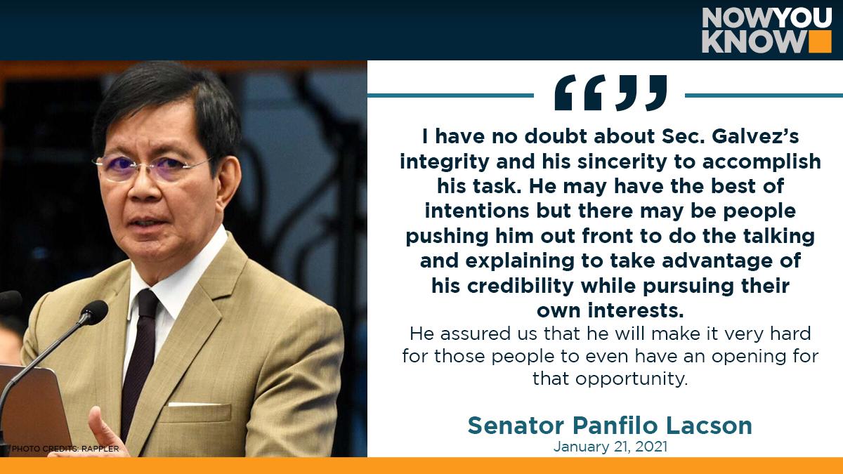 "Vaccine czar Cartilo Galvez Jr. has assured senators that he would ""make it very hard"" for people ""pursuing their own interest"" to overprice the government's procurement of Covid-19 vaccines, Senate Panfilo Lacson said Thursday. READ: bit.ly/3sIz3TX 📰Inquirer"