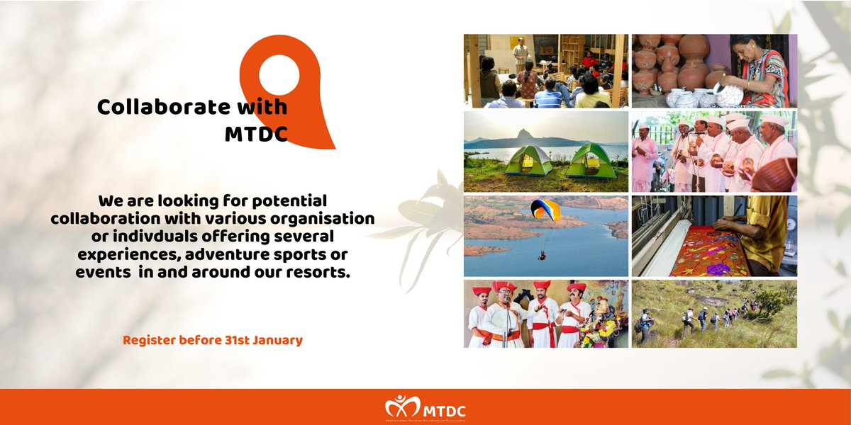 Interested in organising performing arts, cultural activities, industrial workshops, outdoor excursions, adventure sports and more? Let's get together and make tourists experience Maharashtra like never before!  Collaborate with us -   #HelloMTDC