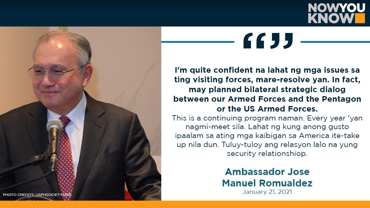 The Philippines expects issues related to the Visiting Forces Agreement with the United States to be resolved under the newly installed administration of US President Joe Biden, Ambassador Jose Manuel Romualdez said on Thursday. READ: bit.ly/3qIc89t 📰GMA NEWS
