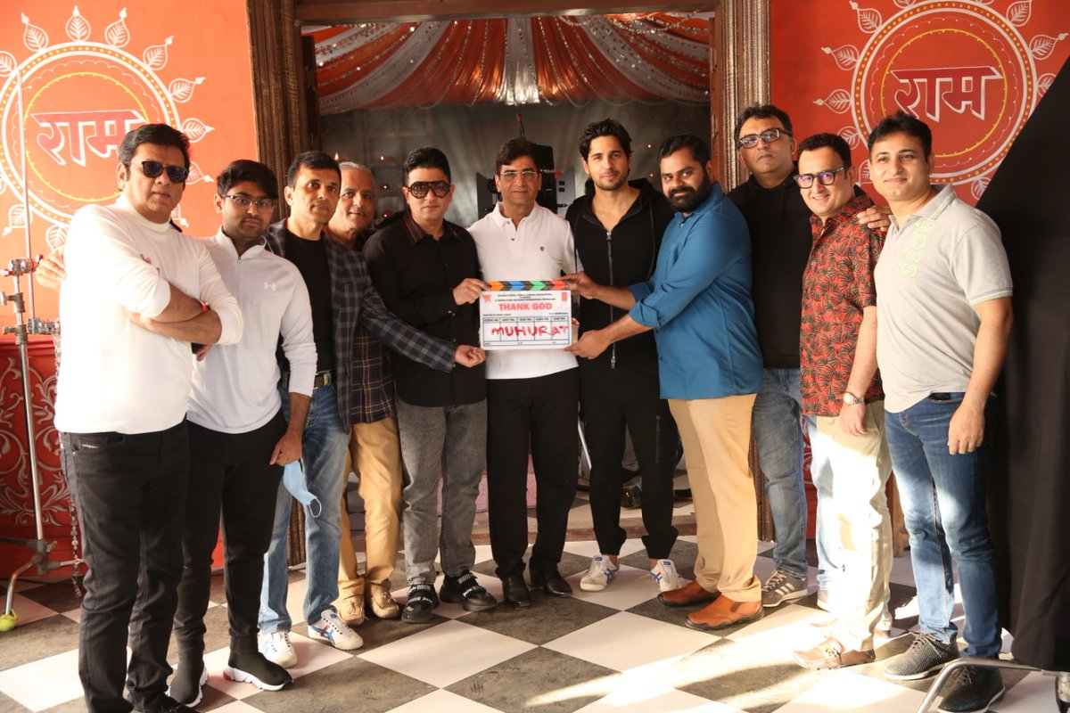 Lights, Camera, Action. We, at Anand Pandit Motion Pictures, are happy to share with you a glimpse of the Muhurat of our upcoming project #ThankGod as the shoot commences today!  @ajaydevgn @SidMalhotra @Rakulpreet @Indra_kumar_9 #BhushanKumar #KrishanKumar #AshokThakeria