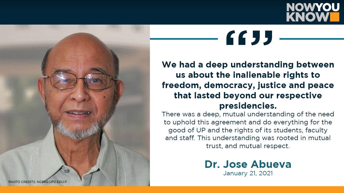 The president of the University of the Philippines in 1989 has expressed his disappointment over the Department of National Defenses decision to end the UP-DND accord that required prior notice before soldiers could enter the campuses. READ:bit.ly/2M6YUV4 📰GMA NEWS
