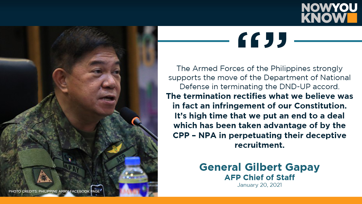 """The Armed Forces of the Philippines (AFP) said Wednesday night that it """"strongly supports"""" the decision of the Department of National Defense (DND) to unilaterally terminate the 1989 University of the Philippines – DND accord. READ: bit.ly/3c4fIXL 📰Manila Bulletin"""