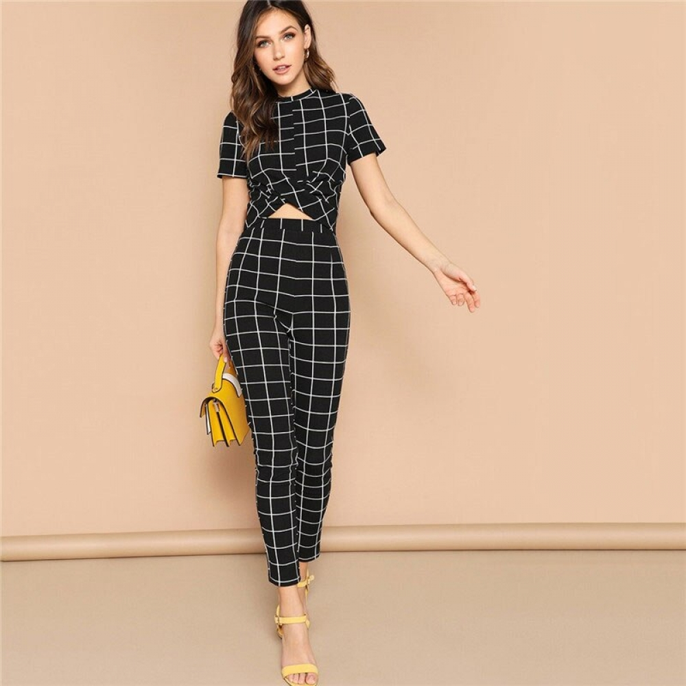 Women's Black Wrap Design Two Piece Set #igers #tagsforlikes