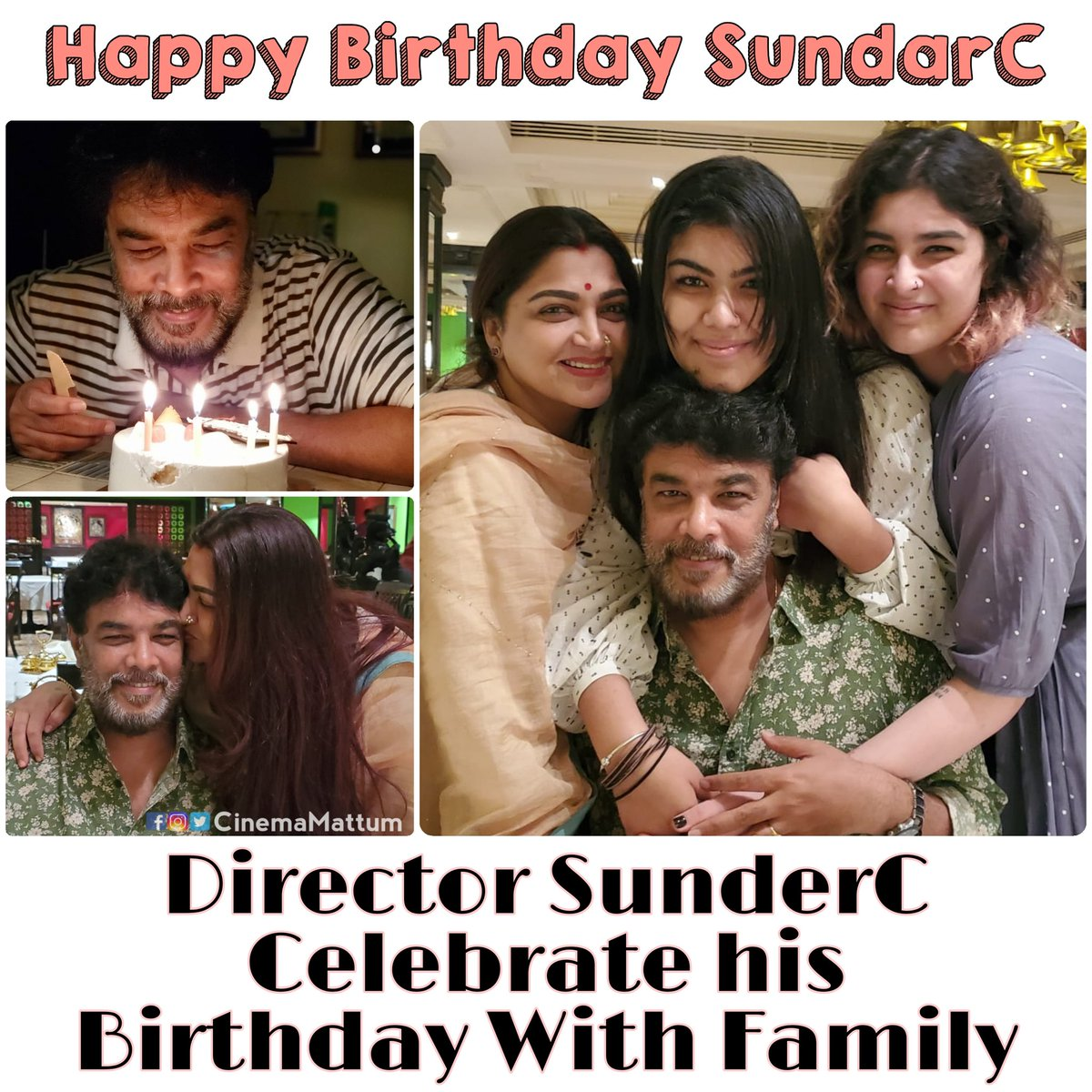 #director #actor #producer #SundarC #celebrate his #birthday with #family #HBDSundarC #HappyBirthdaySundarC  #happyfamily #FamilyPhoto #celebratebirthday #cinemamattumfamily #cinemamattum  #sundarcdirector #sundarcmovies  #kushboo #kushboosundar #kushboosundarc #avinipictures
