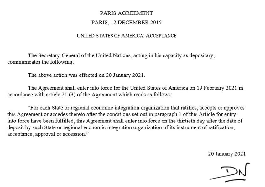 The US #ParisAgreement reentry notification has been deposited with the @UN. Read the reaction of top UN officials: