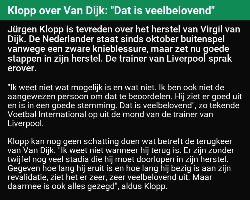 "test Twitter Media - 🤖 'Klopp over Van Dijk: ""Dat is veelbelovend""'  (#LiverpoolFC)  [Bron] https://t.co/pjcjrlC9oZ https://t.co/PxCxsdKlPR"