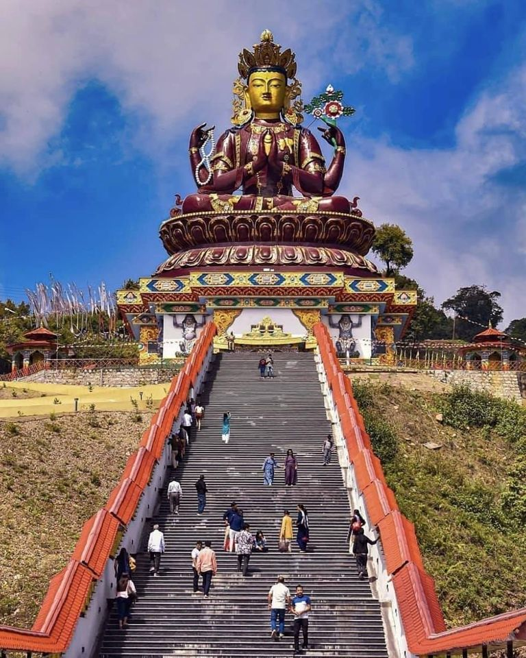 #IncredibleIndia #DidYouKnow  Nestled in the snow-capped mountains, the 135-feet statue of Chenrezig is located at a height of 7,200 m at Sangha Choeling near Pelling in West Sikkim.  This is the world's tallest statue of Chenrezig, a manifestation of Buddha.  PC: Dhiman Santra