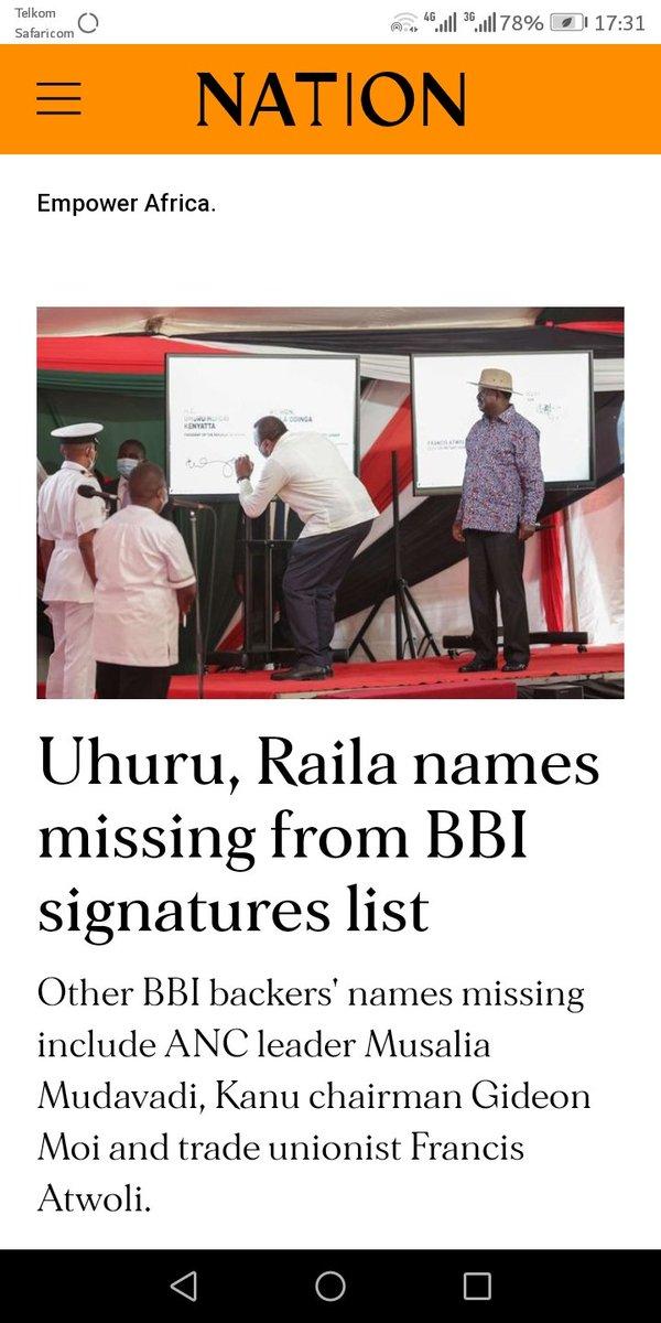 So the names of Raila, Uhuru, Mudavadi, Atwoli and Gideon Moi are missing in BBI signatures. Hawa watu utucheza sana https://t.co/7YxE5MbzMA