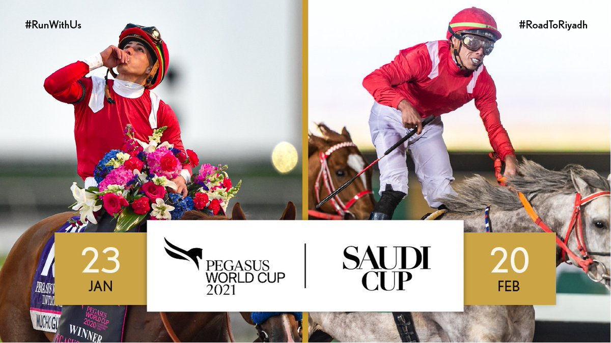 Win the @PegasusWorldCup and run in #TheSaudiCup.  We're excited to see who'll gain an automatic spot for the world's most valuable race.  🇺🇸 🇸🇦 #RunWithUs #RoadToRiyadh