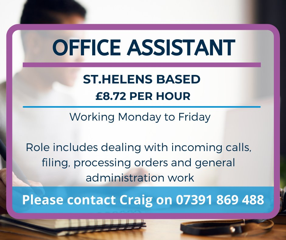Are you looking for a role as an Office Assistant? Craig has the ideal role for you! Contact 07391 869 488 for more details.  #office #assistant #newrole #therightpeopleforthejob