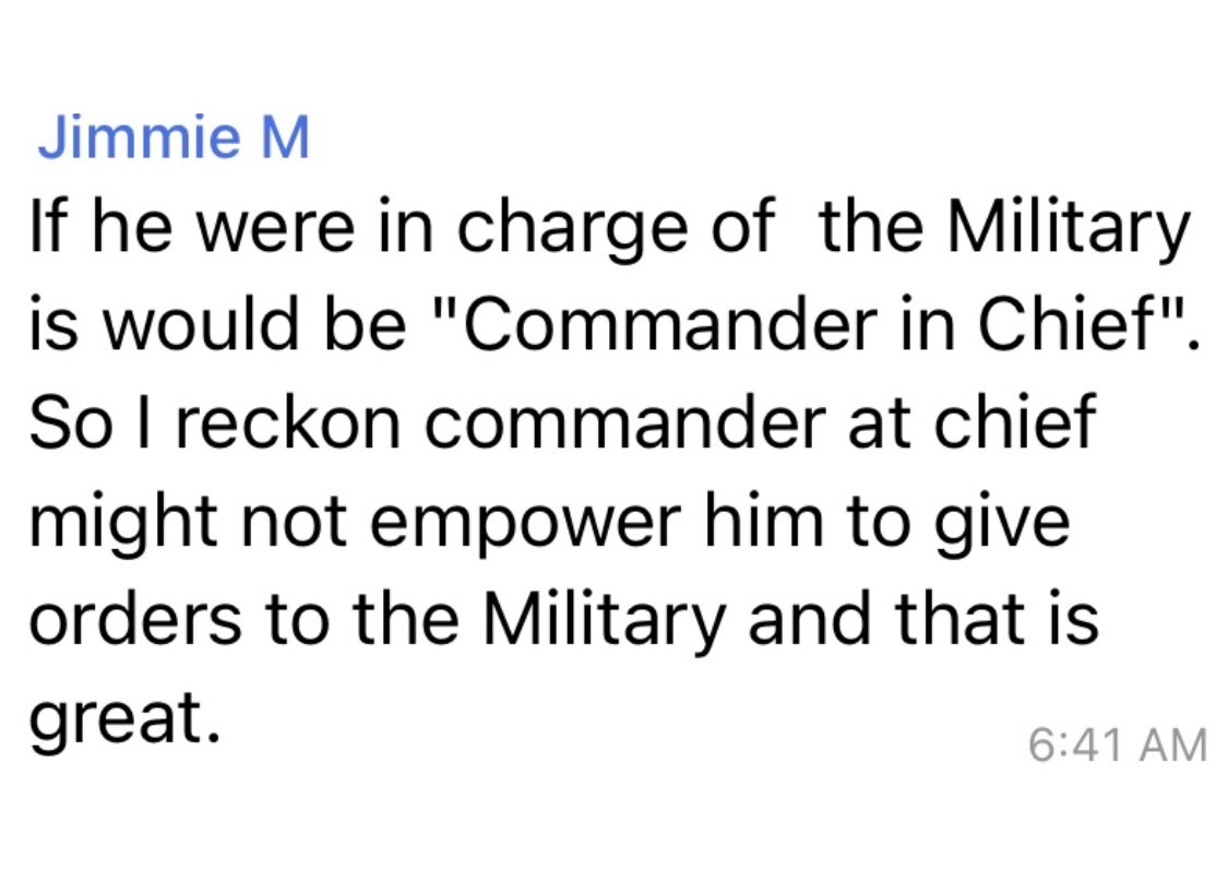 He is not commander at chief. 🤦♂️