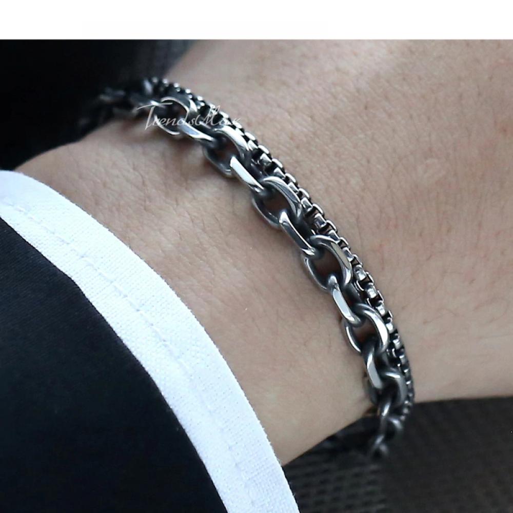 #panty #party Men's Double Chain Bracelet - Cable Box Link Chain - Gunmetal Stainless Steel Bracelet