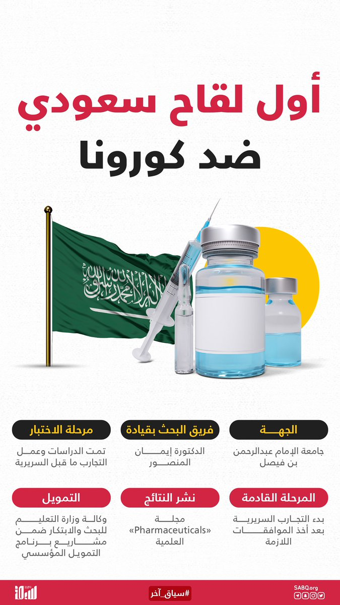 في إنجاز سعودي جديد، زفت جامعة الإمام عبد الرحمن بن فيصل بشرى توصل فريق بحثي للقاح جديد ضد كوفيد–19، وهذه أبرز المعلومات عنه.  #سياق_آخر