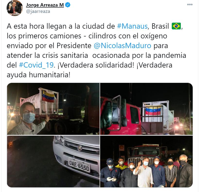 #21Ene 🇻🇪🇧🇷 Mientras los pacientes con #COVID19 en Venezuela mueren por falta de insumos para la atención de su condición, el régimen regala a Brasil cilindros de oxígeno.   Lea más👉🏽   #Venezuela #SomosFronteraViva
