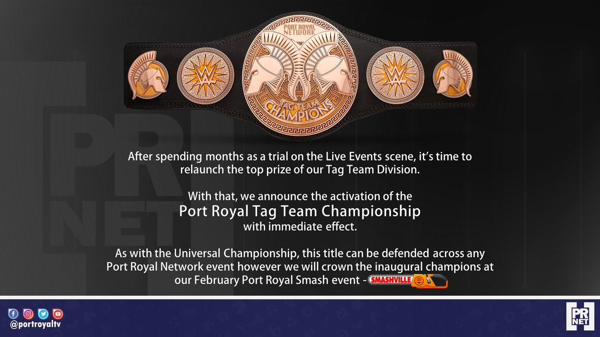 #Breaking: The Port Royal Smash Tag Team Championship is hereby activated and the inaugural champions to be crowned at @PortRoyalSmash #Smashville on February 25th!