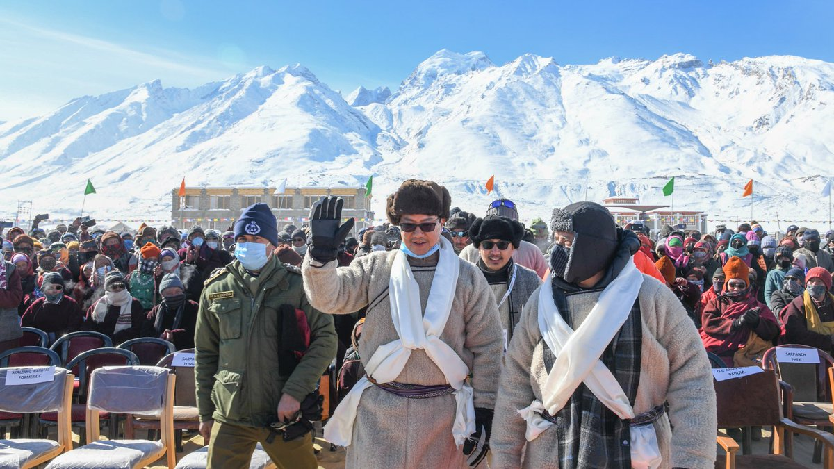 Inaugurated the spectacular Khelo India Winter Sports Festival at Zanskar, Ladakh. LG Ladakh RK Mathur Ji, MP @jtnladakh and large numbers of people participated. This area used to remain cut off from the rest of the world for 5-6 months due to heavy snow but no more now!