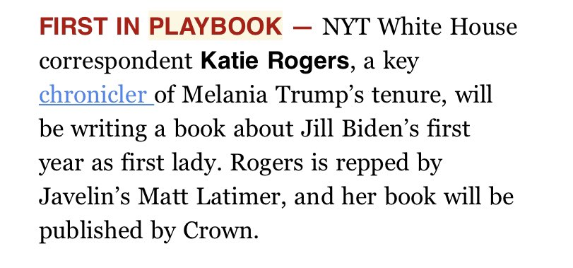 Professional news 🌟 : I'm writing a book! It's on Jill Biden's first year as first lady during on of the most unusual times in American history. I'll explore how the very concept of the role has been heading toward a modern revamp, with reporting from Trump and Obama admins. https://t.co/G3T0NtksQq