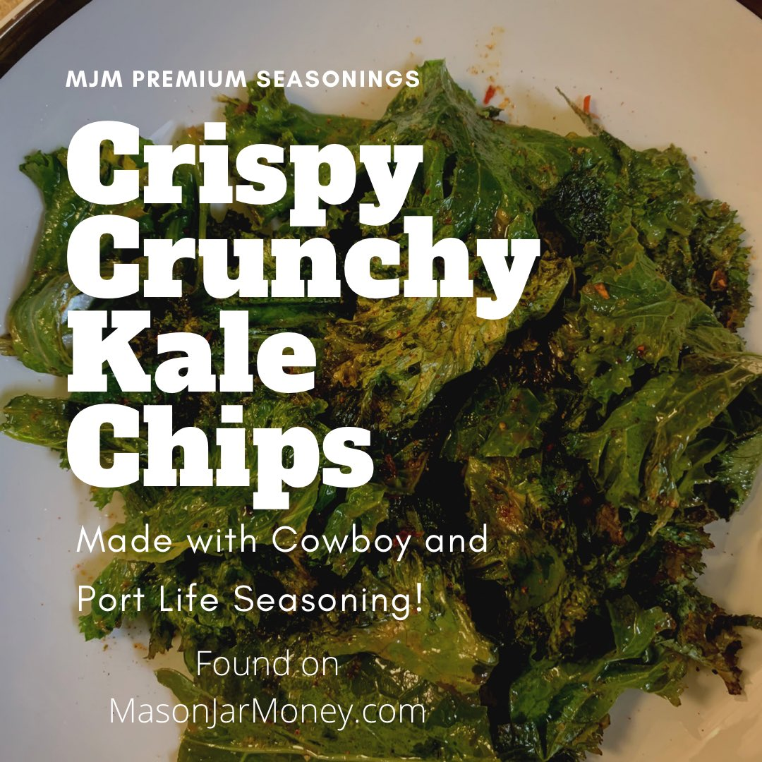 Healthy snack idea! Kale chips made with our Premium Seasonings!!  Drizzled with olive oil and seasoned with Cowboy and Port Life seasoning found on our site ! #keto #diet #healthy #food #cook #kale #snackideas #cleaneating  #spices #iputthatishoneverything