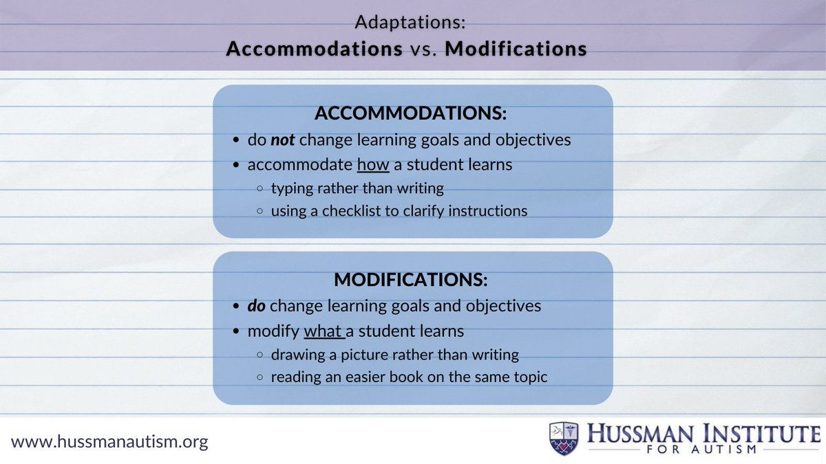 Let's break down adaptations!  - - - #inclusiveeducation #inclusion #autism #presumecompetence #adaptation #accommodation #modification #accessibility