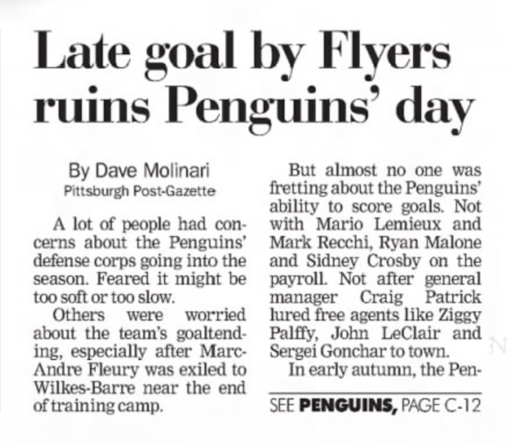 15 years ago (1/21/06): #Flyers beat #Penguins, 2-1. #LetsGoPens