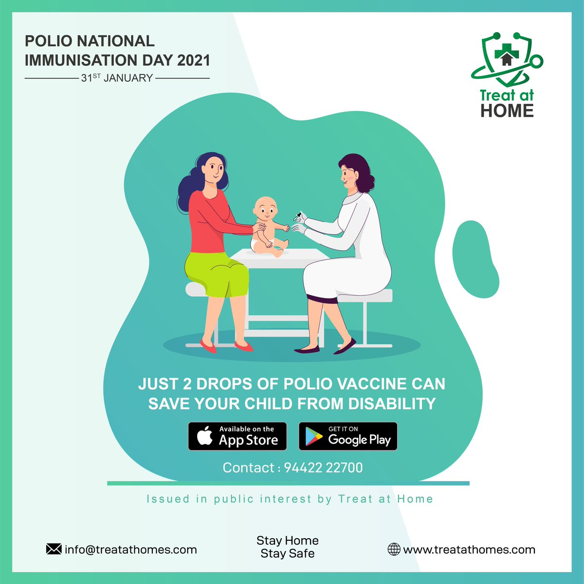According to a statement by @MoHFW_INDIA , Polio Immunisation Day has been scheduled on 31st January 2021. Let's spread the word and vaccinate every last child, Let's end polio together #EndPolio #HealthForAll #NationalImmunizationDay #TreatatHome