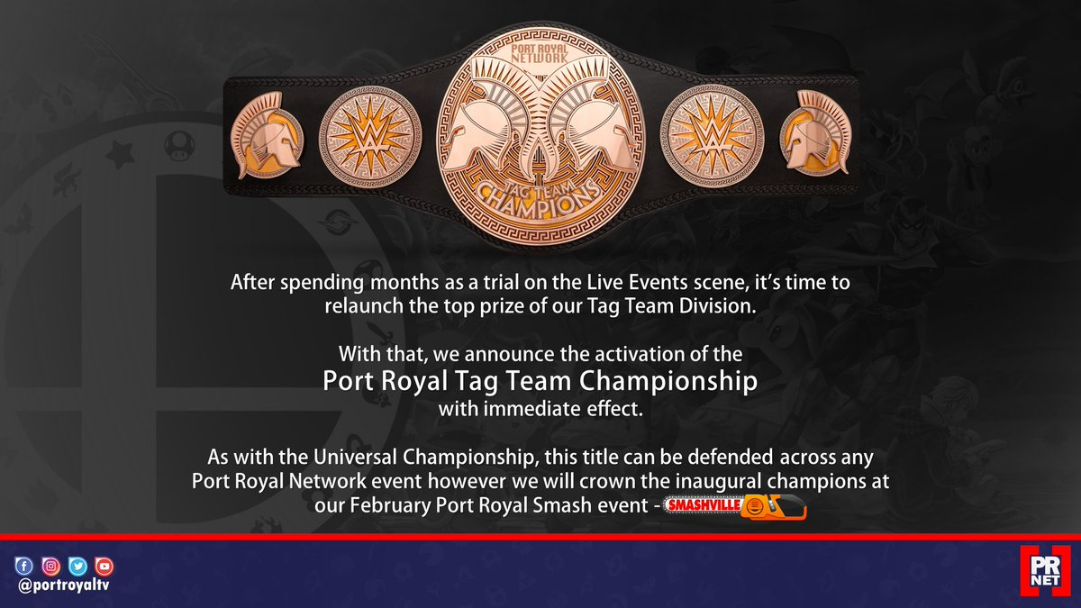 #Breaking: The Port Royal Smash Tag Team Championship is hereby activated and the inaugural champions to be crowned at #Smashville on February 25th!