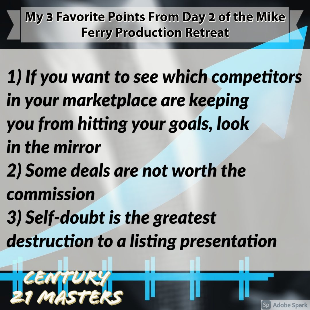 Another amazing day at the virtual Mike Ferry Production Retreat. 4 hours of truly great nuggets. No matter how many times you've been you always get new great powerful information. These are my 3 favorites. @MikeFerryOrg #thursdayvibes #thursdaythoughts #thursdaymotivation