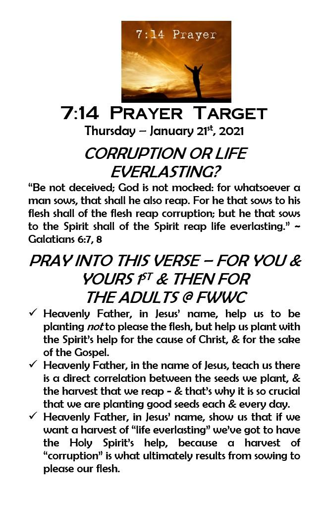 7:14 Prayer Targets for Thurs, Jan 21st #Jesus #Prayer #Reformation #Revival #ThursdayThoughts #ThrowbackThursday