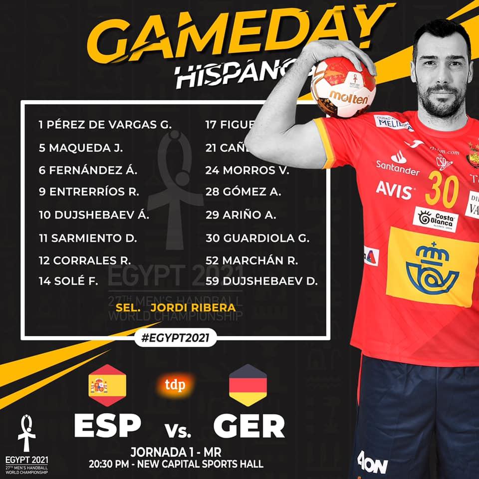 🏆 Mundial Egypt 2021 Men's Handball World Championship  🔜 España 🆚 Alemania, a partir de las 19h30, hora canaria, por @teledeporte.  #balonmanocanario https://t.co/5lIDTl95Fy