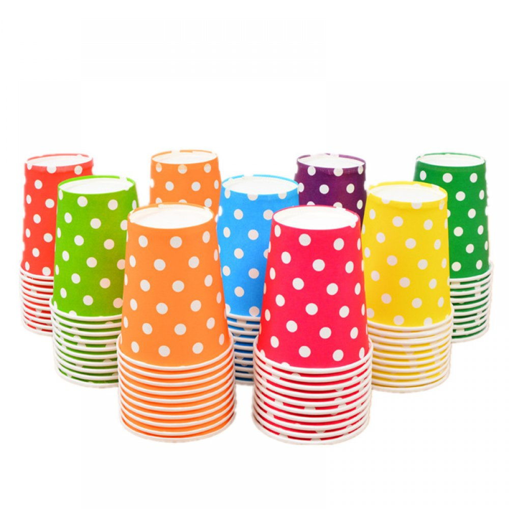#memories #fashion Multi-Color Dots Printed Paper Disposable Cups