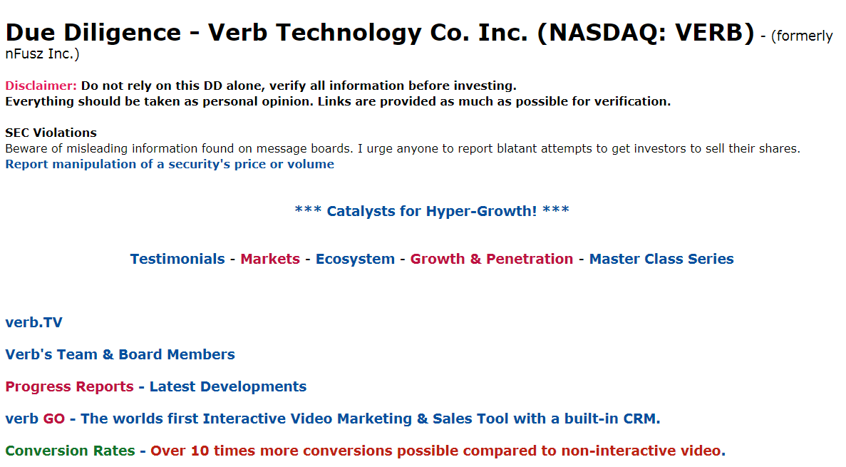 $VERB @VerbTech_co #InteractiveVideo #SalesTool #CRMsales #SalesSuccess #Growth #InAppPurchasing #TechInnovation #futuretechnology  VERB DD, News & Updates  https://t.co/A1Emky3HET https://t.co/ynPeUtdm3f