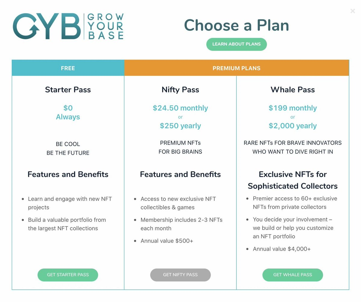 Join #GrowYourBase today for FREE and earn NFTs! Paid options include: #FREE: $0.00 #NiftyPass: $24.95/month or $250.00 annually #WhalePass: $199/month or $2000.00 annually #NFTs! #GYB #NFT #ethereum #eth   >>