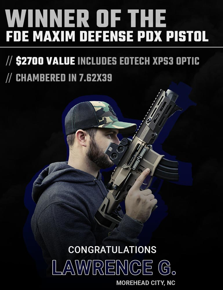 Congratulations to Lawrence G. of Morehead City, NC - the winner of the Maxim Defense PDX giveaway! Not Lawrence? You can still get your very own AR pistol -