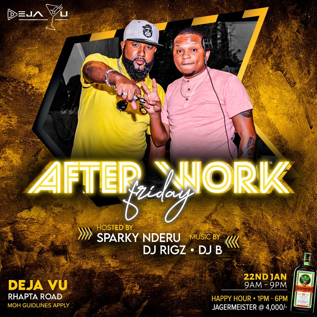 #Afterwork FRIDAY @dejavuloungeke_ hosted by @sparkynderu #PARTY @deejayrigz @selekta_djb The Crowd Entertainer-Connecting people through music