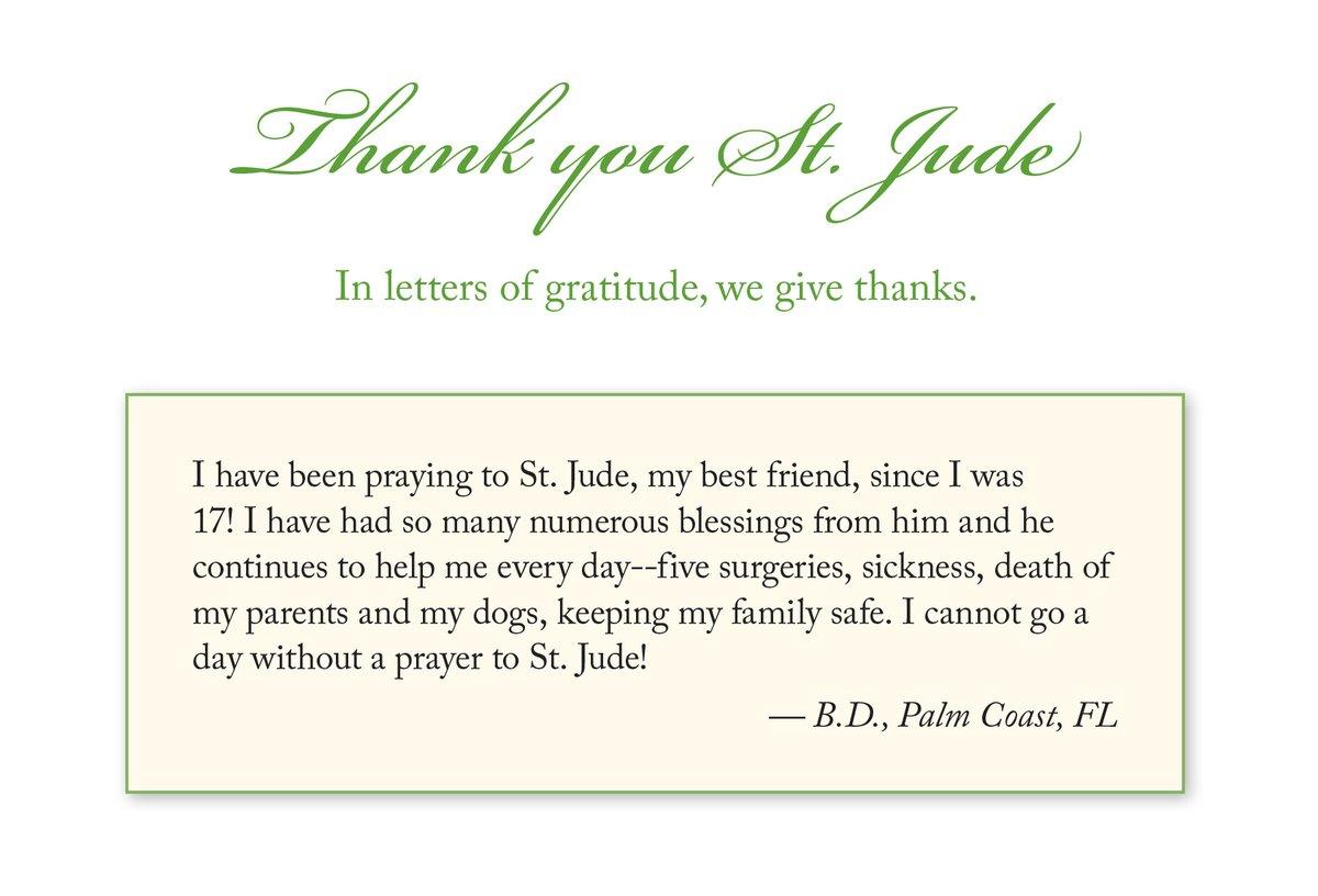 In letters of gratitude, we give thanks. - #ThankYouStJude #StJudePrayForUs #thankfulthursday #thursday #gratitude #thankyou #givethanks #pray #intercession #intention #petition #prayer #stjude #saintjude #thanks #catholic #blessings #surgery #sickness #family #bestfriend