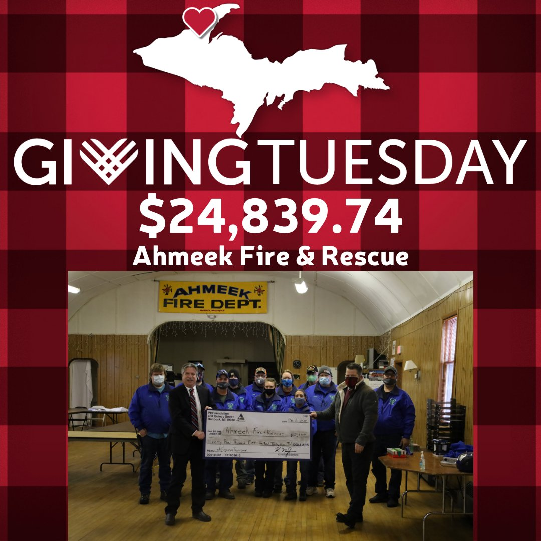 Nearly $25,000 was raised by Ahmeek Fire & Rescue this year during their first time participating in #GivingTuesday! We're proud to have partnered with them and are so thankful for the work they do. #Give906 #CopperCountryStrong