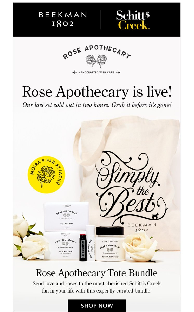 🌹🌹RT @raeraeverret: Schitts Creek, Rose Apothecary items are back in stock. Order has been placed, as they sell FAST!! GOOO!! @Beekman1802Boys  have done it again...this stuff smells incredible https://t.co/8hiF5QKlbm