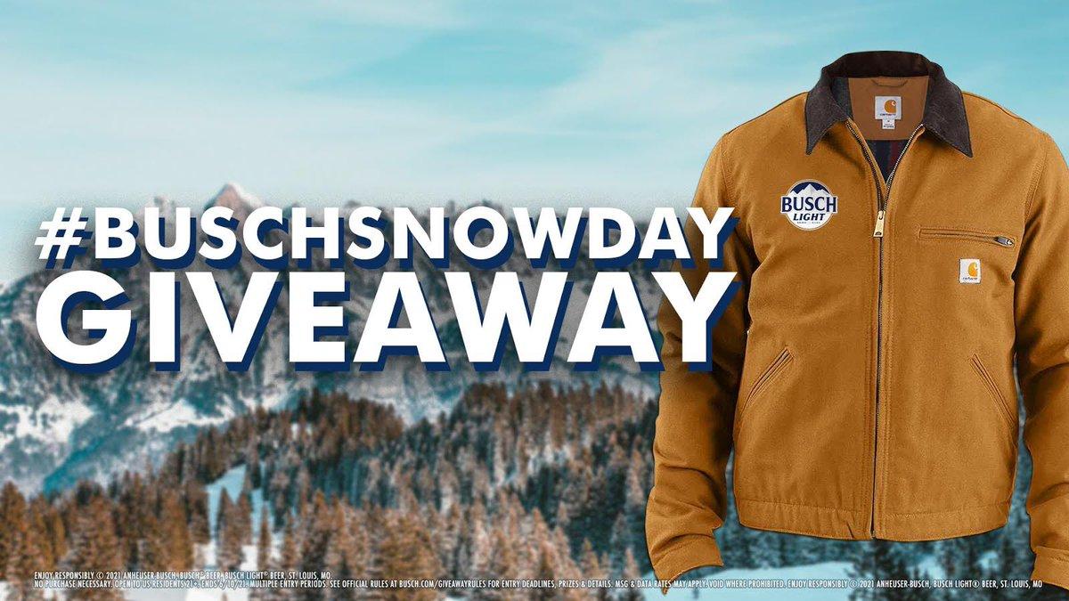 ⛄ @CARHARTT COAT GIVEAWAY⛄  Retweet with #Sweepstakes and follow us for your chance to win a Busch Carhartt Coat. Tag someone 21+ who would look snow good in this. #BuschSnowDay