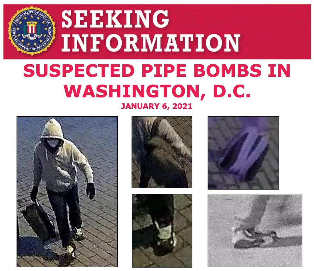 The #FBI and @ATFHQ are offering up to $75,000 for information leading to the location, arrest, and conviction of the individual(s) responsible for placing suspected pipe bombs in Washington, D.C., on January 6. Submit tips at .