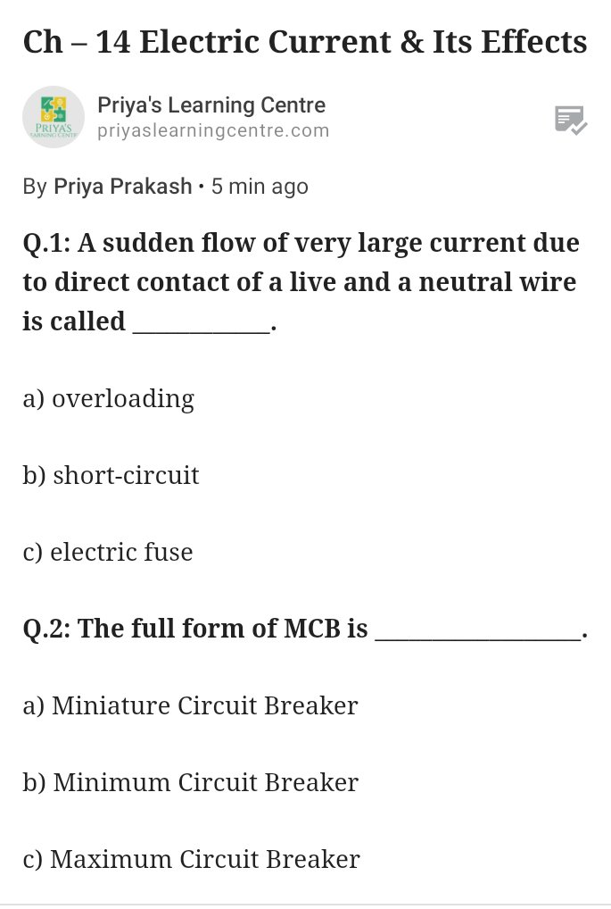 Read more about Electruc Current & Its Effects 👉 #electriccurrent #electricity #grade7 #physics #science #scienceforkids #grade7science #electromagnet #NCERT #ncertnotes #CBSE #cbseforstudents #cbseexams #electricbell #electriceffect #fuse #circuitbreaker