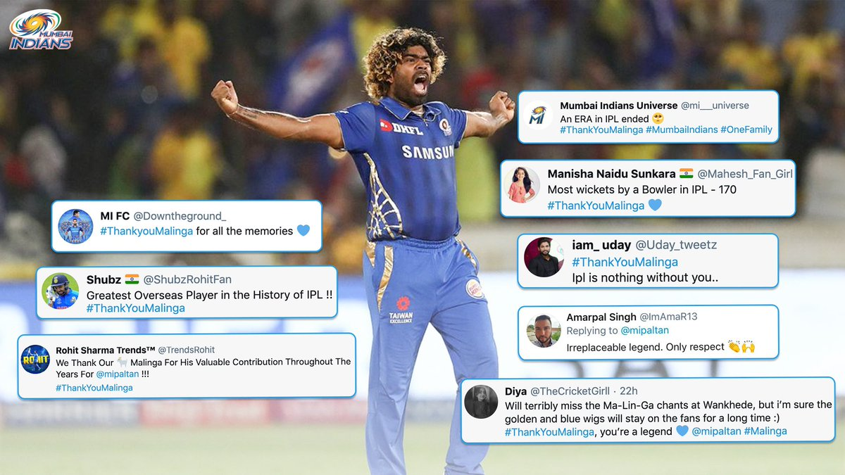 Paltan showers praise for Slinga Malinga! He will always have a special place in Mumbai's heart! 💙  #ThankYouMalinga #OneFamily #MumbaiIndians