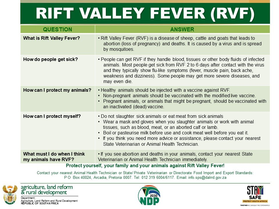 Rift Valley Fever: Protect yourself, your family and your animals against Rift Valley fever! @GCISMedia @GovernmentZA @SAgovnews @VukuzenzeleNews @FarmersWeeklySA @foodformzansi @ARCSouthAfrica @obpvaccines #AnimalHealth #RVF